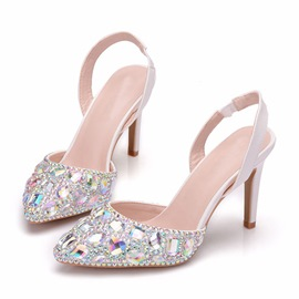 Ericdress Rhinestone Stiletto Heel Slip-On Women's Wedding Shoes