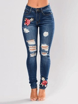 Ericdress Embroidery Floral Ripped Slim Mid-Waist Jeans