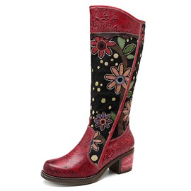 Ericdress Floral Side Zipper National Style Women's Boots
