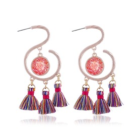Ericdress Pink&Purple Tassels Earrings