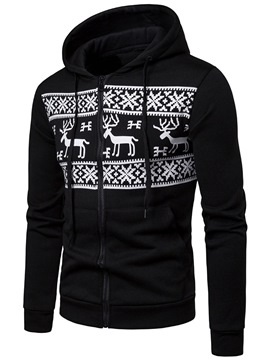 Ericdress Printed Zipper Cardigan Winter Men's Casual Hoodies