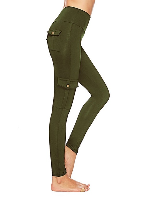 Ericdress Pocket Button Plain Mid-Waist Women's Cargo Pants