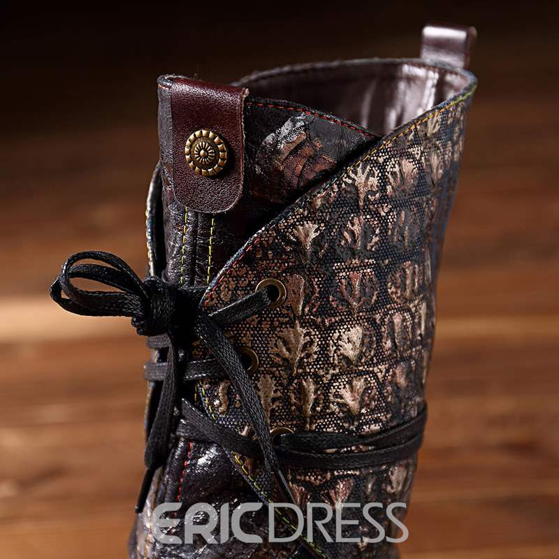 Ericdress Block Heel Lace-Up Front Round Toe Women's Boots