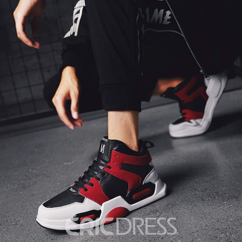 Ericdress High-Cut Upper Lace-Up Round Toe Men's Sneakers