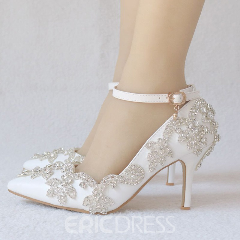 Ericdress Rhinestone Pointed Toe Line-Style Buckle Wedding Shoes