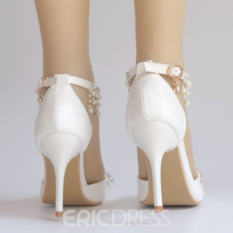 Ericdress Beads Line-Style Buckle Pointed Toe Wedding Shoes