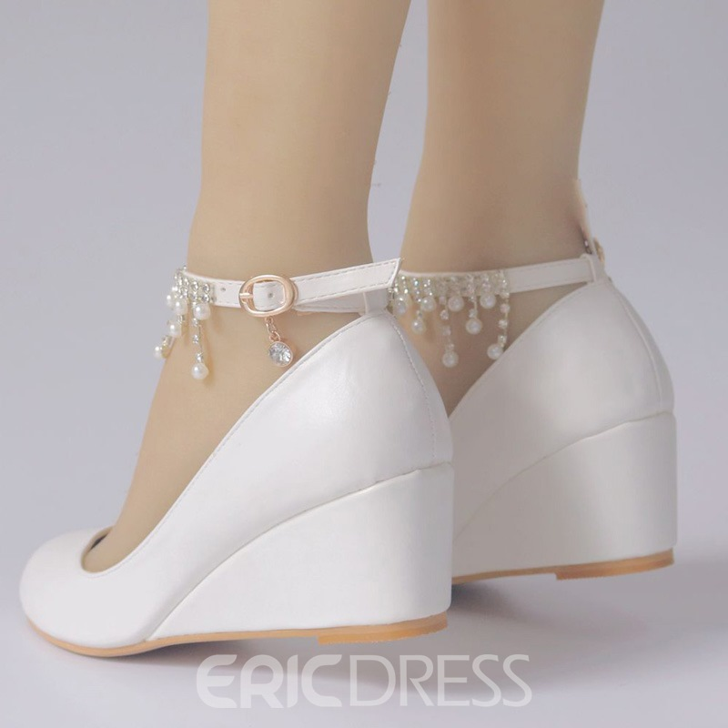 Ericdress Line-Style Buckle Wedge Heel Women's Wedding Shoes