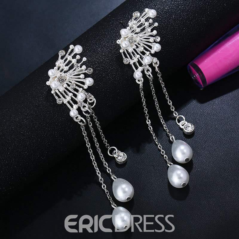 Ericdress Diamante Pearl Fashion Earring