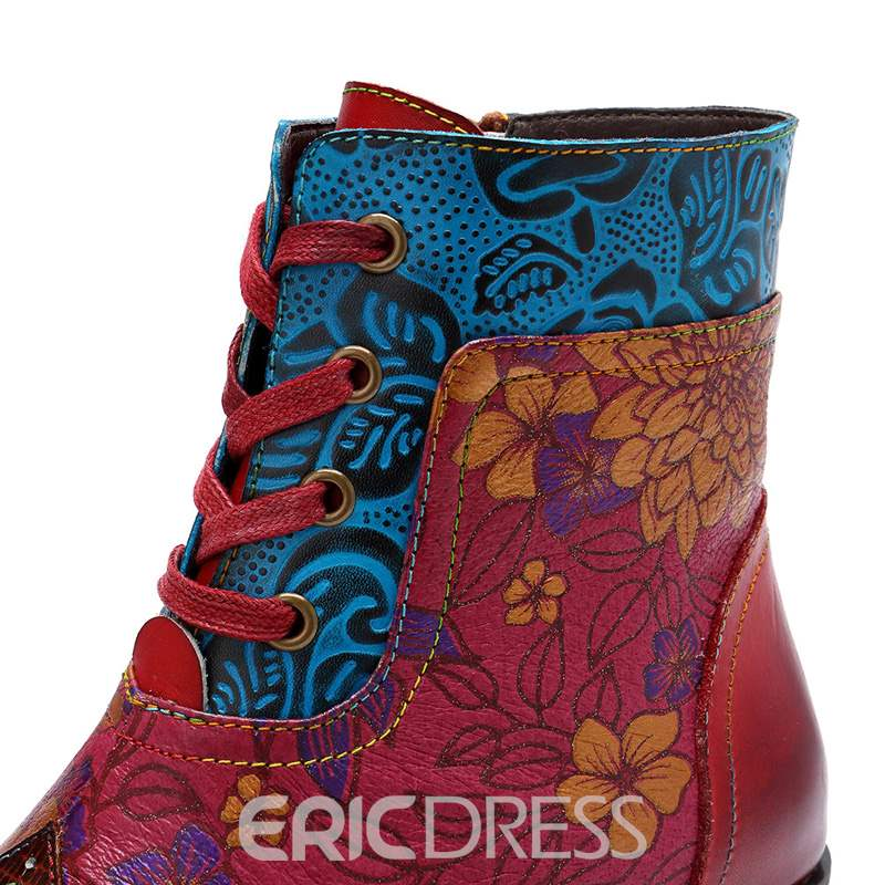 Ericdress Floral Side Zipper Round Toe Women's Ankle Boots