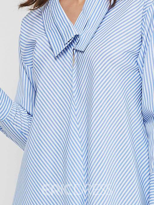Ericdress Regular Stripe Lapel Mid-Length Blouse