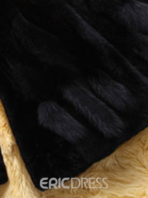 Ericdress Regular Mid-Length Faux Leather Winter Faux Fur Overcoat