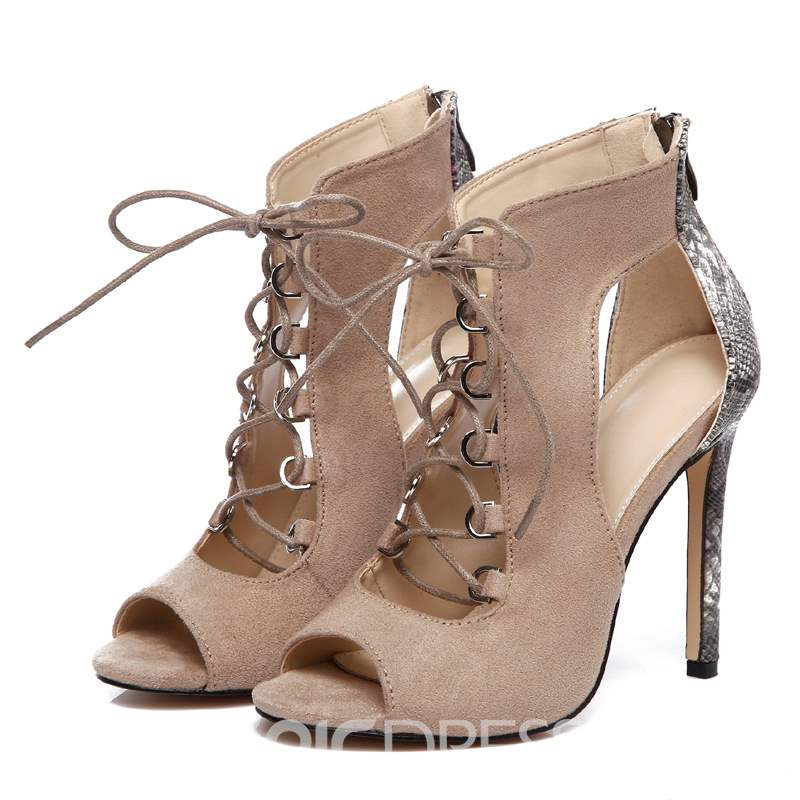 Ericdress Stiletto Heel Peep Toe Cross Strap Women's Sandals