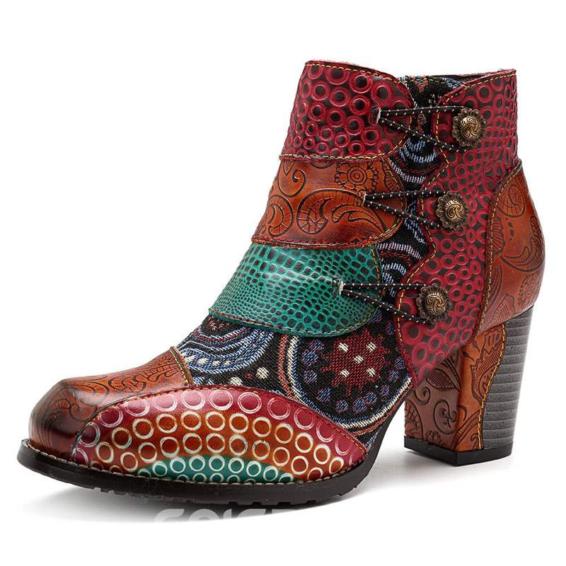 Ericdress Round Toe Chunky Heel National Style Women's Boots