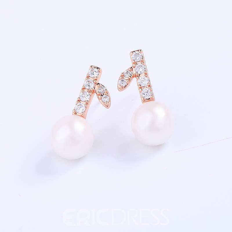 Ericdress Pearly Diamante Earrings