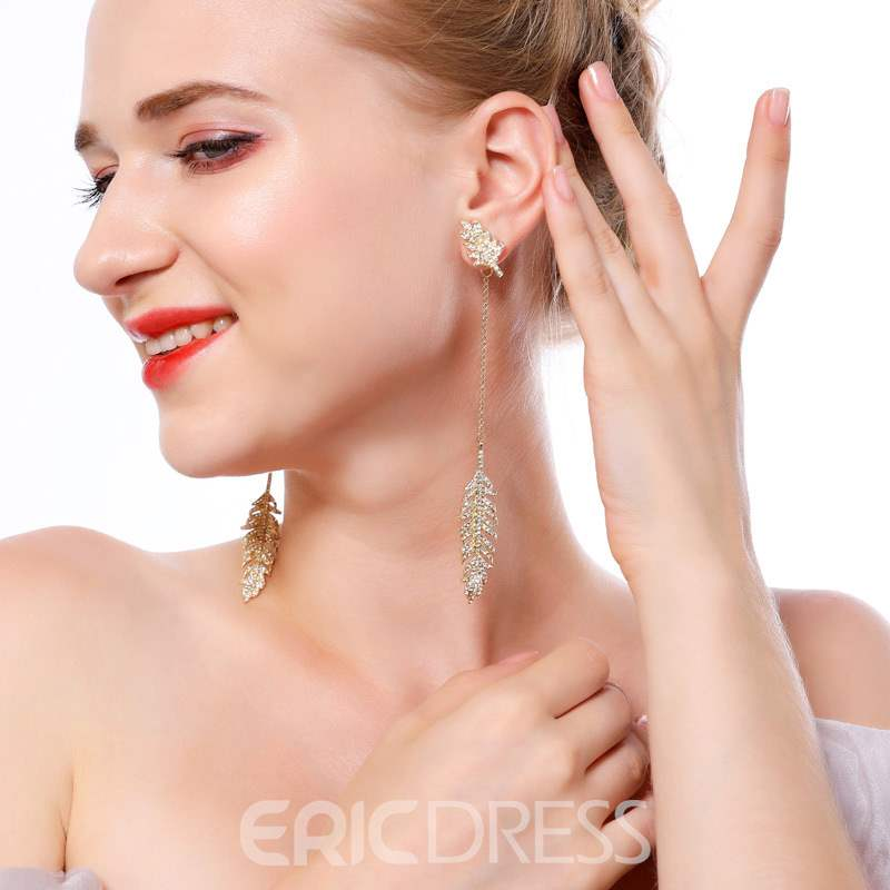 Ericdress Leaf Diamante Drop Earrings
