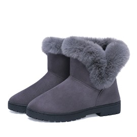 Ericdress Purfle Round Toe Block Heel Slip-On Women's Snow Boots