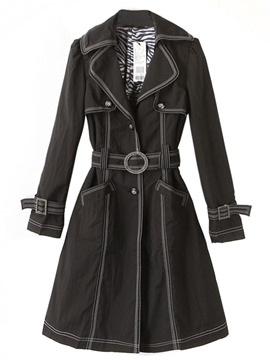 Ericdress Single-Breasted Mid-Length Spring Long Sleeve Trench Coat