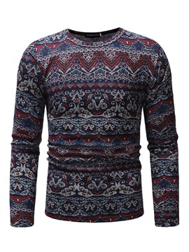 Ericdress Casual Round Neck Print Long Sleeve Mens T-shirt