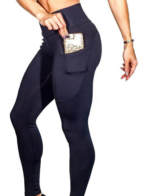 Ericdress Anti-Sweat Pockets Solid Yoga Leggings