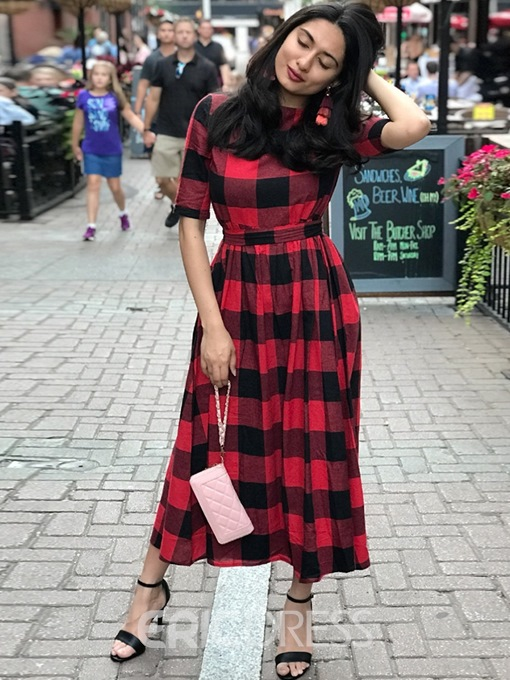 Ericdress Plaid Casual Color Block Half Sleeve Ankle-Length A-Line Dress