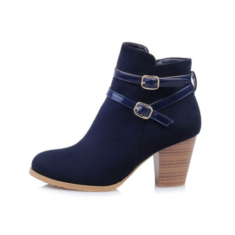 Ericdress Patchwork Side Zipper Chunky Heel Women's Boots