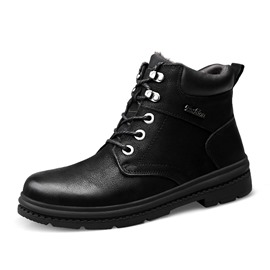 Ericdress Lace-Up Round Toe Men's Martin Boots