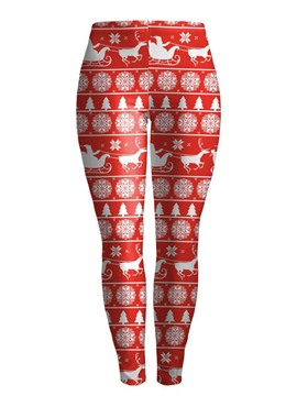 Ericdress Christmas Animal Print Breathable Women's Pants