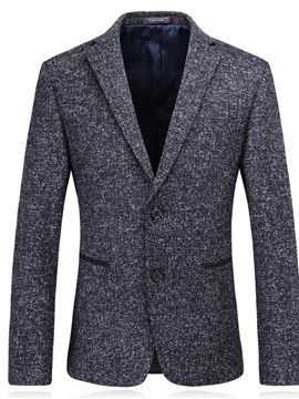 Ericdress Plain Notched Lapel Single Breasted Slim Mens Casual Blazer