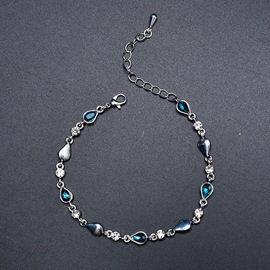 Ericdress Blue Crystal Shining Bracelets For Women