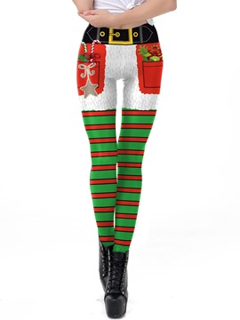 Ericdress Christmas Stripe Print Women's Pants
