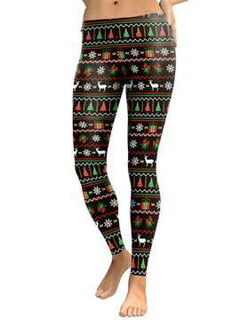 Ericdress Christmas Print Geometric Women's Pants