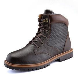 Ericdress Plain Lace-Up Front Men's Work Boots