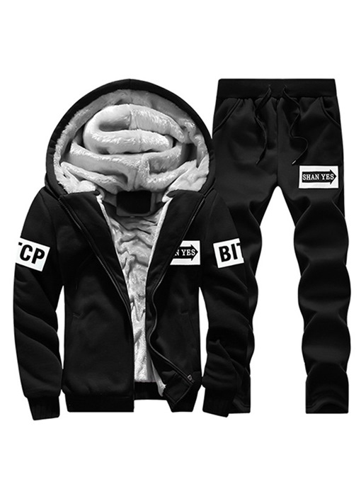 Ericdress Letter Printed Hoodie & Pants Mens Casual Outfit