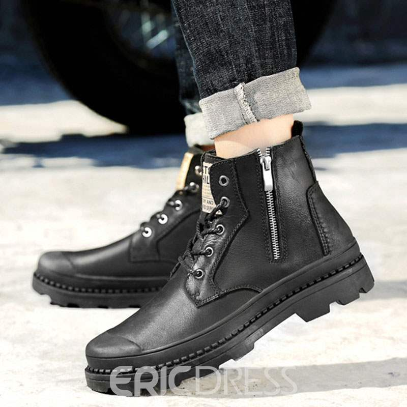 Ericdress Plain Round Toe Men' Martin Boots