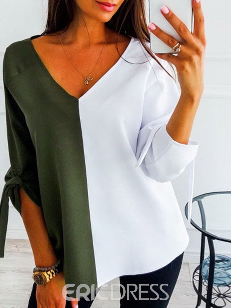 Ericdress V-Neck Standard Color Block Fashion Spring T-Shirt