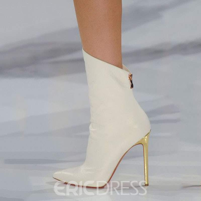 Ericdress White Point Toe Ultra High Heel Boots