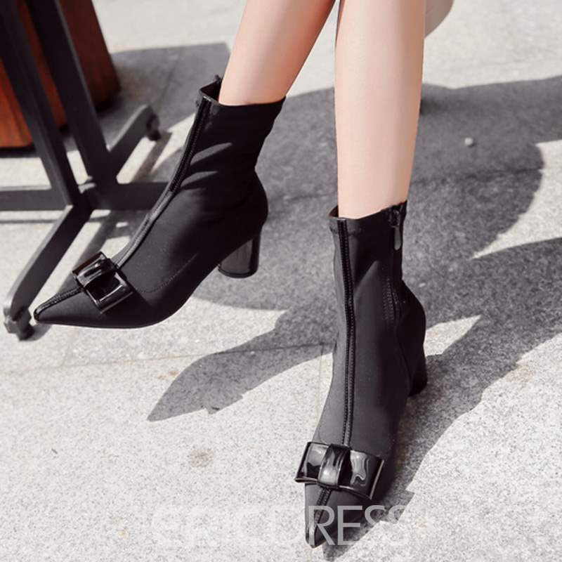 Ericdress Bowknot Patchwork Chunky Heel Women's Ankle Boots