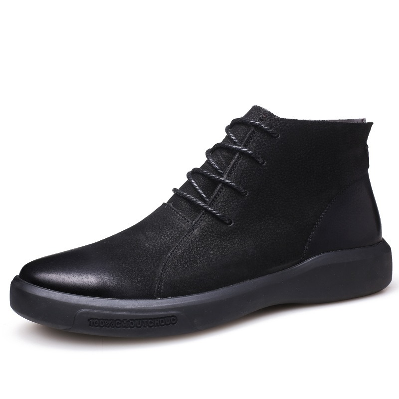 Ericdress Lace-Up Front Round Toe Patchwork PU Men's Boots