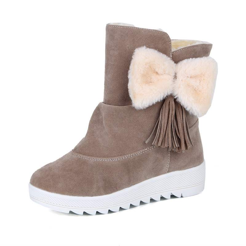 Ericdress Fringe Bow Slip-On Round Toe Women's Snow Boots