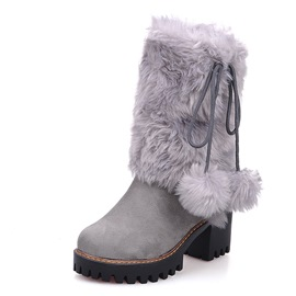 Ericdress Plain Chunky Heel Slip-On Short Floss Women's Snow Boots
