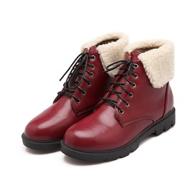Ericdress Plain Round Toe Lace-Up Front Women's Boots