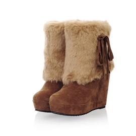 Ericdress Plain Faux Fur Slip-On Round Toe Women's Snow Boots