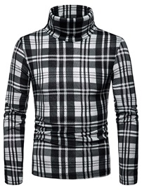 Ericdress Plaid Slim High Neck Mens Casual Sweaters