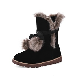 Ericdress Plain Lace-Up Front Round Toe Women's Snow Boots