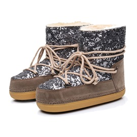 Ericdress Sequin Round Toe Lace-Up Women's Snow Boots