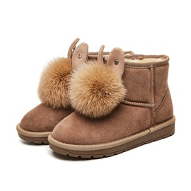 Ericdress Plain Pompon Slip-On Platform Short Floss Women's Snow Boots