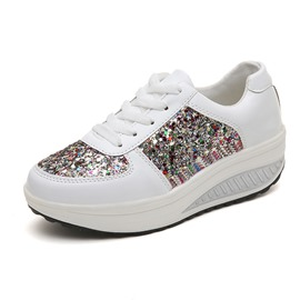 Ericdress Sequin Platform Lace-Up Low-Cut Upper Women's Shoes