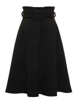 Ericdress Plain A-Line Pleated Mid-Calf Belt Women's Skirt