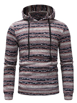 Ericdress Striped Patchwork Pullover Mens Casual Hoodies