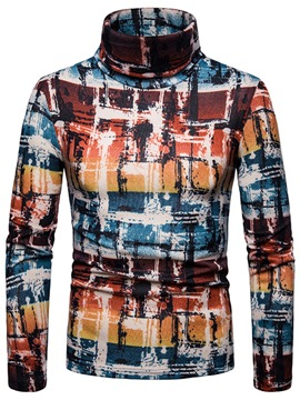 Ericdress Color Block Printed High Neck Mens Casual Sweater